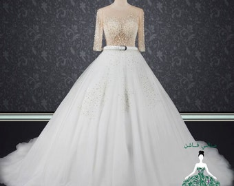 Customized Wedding Dress with Pearls