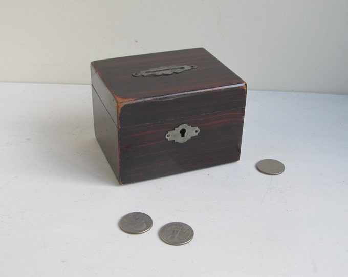 Old wooden church collection money box, simple rustic antique home decor, piggybank