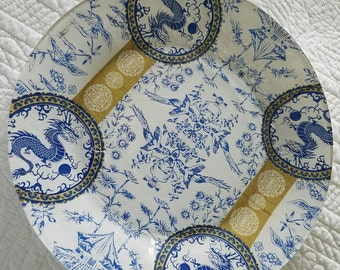 Dinner plates//Blue and white//decoupaged glass// Set of 4