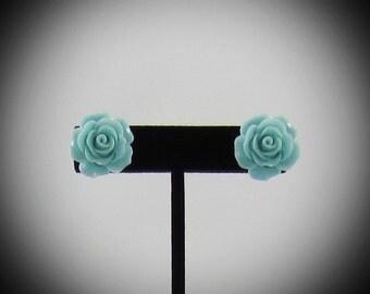 Large Light Blue Rose Resin Earrings