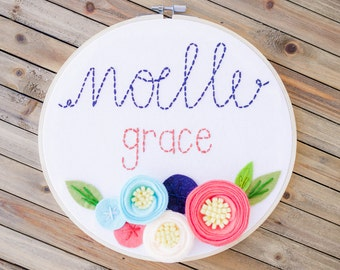 """8"""" embroidery felt hoop, personalized name with 3D flowers"""