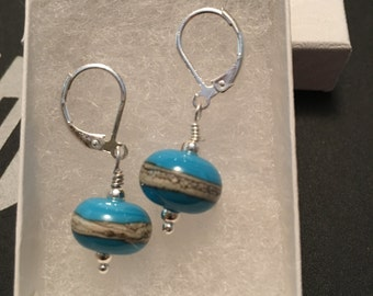 Hand Blown Glass Bead Earings