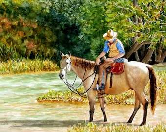 Cowboy painting original watercolor horse painting river fall color blue tan rust green brown 11x15