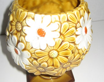 Great gift Vintage Relpo Brown Daisy Planter Stamped Relpo 5977 Great Gift 70's Nostalgia