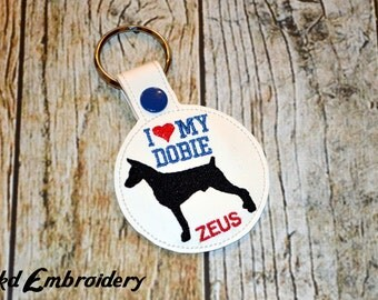 I Love My Doberman Personalized Key Chain - Vinyl keychain snap key fob - Dog Owner Key Chain