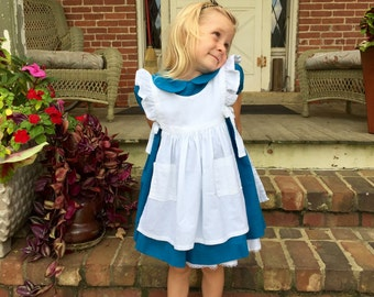 Classic Alice in Wonderland Dress and Pinafore, Toddler Sizes