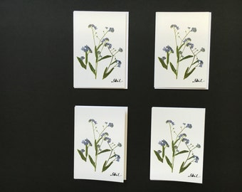 """Set of 4 Cards - """"Forget-Me-Not"""" Card Prints"""