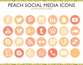 560 Social Media Icons! Peach - PNG files- Digital Download- Blog/Wordpress/Web/Email Friendly