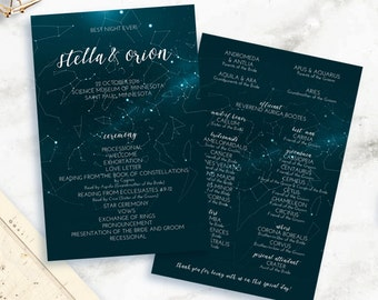 Capture Your Moment: Printable Wedding Program Design Featuring the Exact Night Sky That Will Be Visible During Your Event