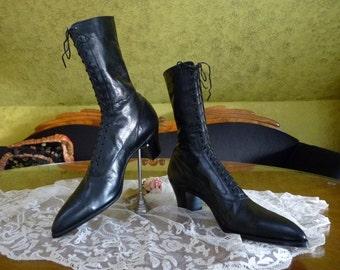 Black Edwardian High Top Lace Up Boots, antique Shoes, Edwardian shoes, ca. 1915