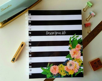 Personalized Journal or Notebook * Diary * Student Journal  * Black and White Stripes