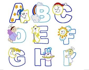 Alphabet applique etsy 26 alphabet design alphabet applique machine embroidery design pack pes format 2 sizes pronofoot35fo Choice Image