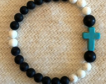 Black Agate beaded bracelet with turquoise cross