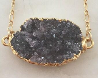 Druzy Pendant Necklace - Heather Purple