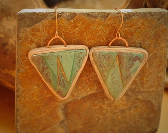 Teal Tribal Triangle Earrings
