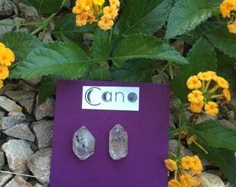 Tibetan smokey quartz crystal stud earrings