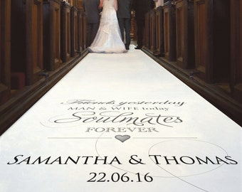 Personalised Wedding Aisle Runner. 'Friends Yesterday...Soulmates Forever' Carpet Decoration For Wedding Ceremony with Your Custom Text