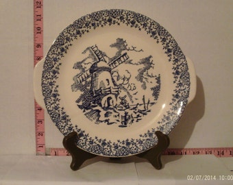 """Vintage Royal China Blue and White Dutch Windmill Handled Platter 10.5"""" x 11.5"""""""