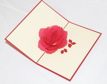 A Rose, Pop Up Card, Birthday Card, Greeting Card, Birthday Pop Up Card, Christmas Card, Get Well Card, Anniversary Card, 220