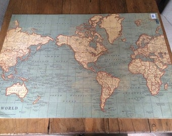 Vintage world travel map wrapping / craft paper sheets / wedding gift wrap