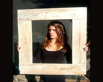 Reclaimed wood frame with mirror-handmade Wooden Frame with Brushed Pickled White Eco Desisig
