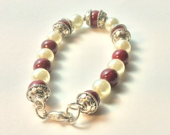 Classic red and pearl bracelet with silver beadcaps, alligator clasp