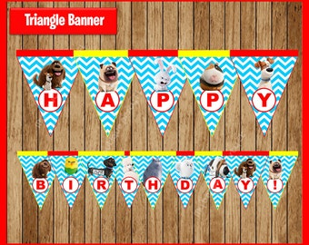 The Secret Life Of Pets Triangle Banner instant download, Printable Secret Life Of Pets party Banner, Secret Life Of Pets Banner