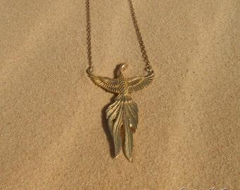 Phoenix Pendant Gold Plaitted