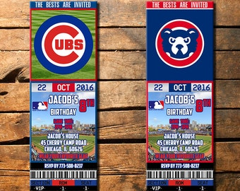 Chicago Cubs Birthday Invitation, Chicago Cubs Invite, Chicago Cubs Birthday Ticket, Chicago Cubs Invitations