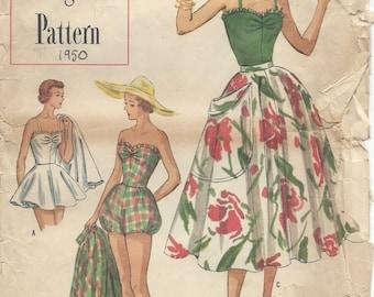1950 Vintage Sewing Pattern B33 BATHING SUIT & SKIRT (R975)  Simplicity 8271
