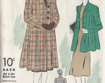 "1941 Vintage Sewing Pattern B38"" SWAGGER COAT (72) By 'Du Barry' 2338B"