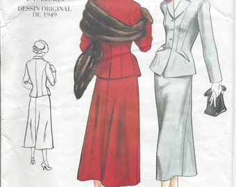 "1949 Vintage VOGUE Sewing Pattern JACKET & SKIRT B34""-36""-38"" (R400)  Vogue 2476"