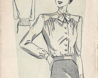 1940s Vintage Sewing Pattern B36 BLOUSE (R900) Weldons 155352