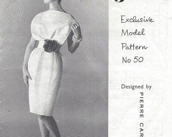 1960s Vintage Sewing Pattern DRESS B36 (1548) By Pierre Cardin for Woman's Journal 50