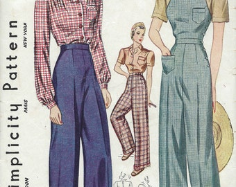 1940 Vintage Sewing Pattern B40-W34 BLOUSE-TROUSERS-OVERALLS (1228-9)   Simplicity 3322