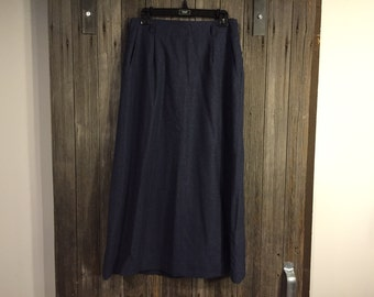 Navy Straight Wool Back Kick Pleat Vintage Skirt