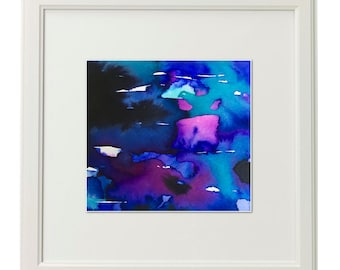 Giclée Print, Abstract Ink Painting with Black, Deep Blue, Turquoise, Rose, Magenta and Violet