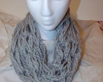 Short Silver Arm Knit Infinity Alpaca Cowl Scarf
