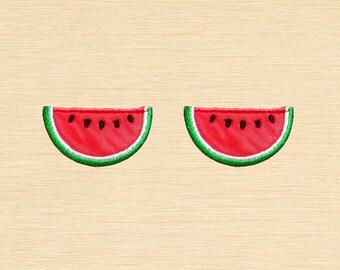 Set of 2 pcs Mini Watermelon Iron On Patches Sew On Appliques