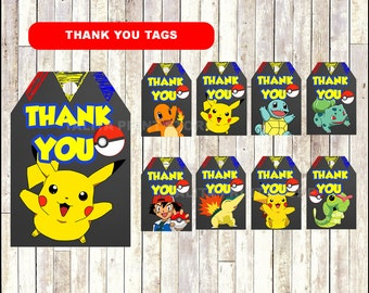 Pokemon Chalkboard Thank you tags, printable Pokemon party tags, Chalkboard Pokemon thank you tags- Instant download