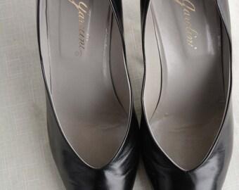 Soft Leather Black Heels