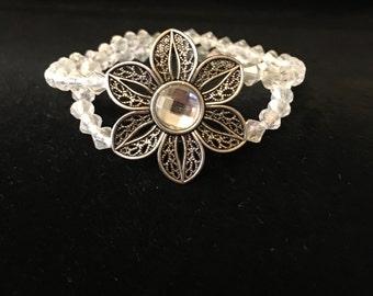 Flower Crystal Double Beaded  Bracelet