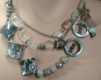 Grey agate necklace.