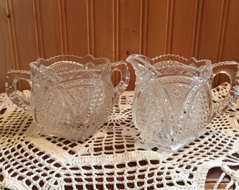 Antique pressed glass creamer and sugar