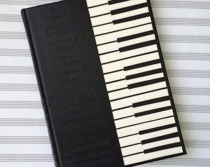Personalized piano notebook leatherette notepad music style write journal diary handmade notes gift present teacher gift for her and him