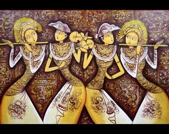 The Orchestra of Flutes: Giclee of Traditional Balinese Painting; Stretched Canvas and Ready to Hang!
