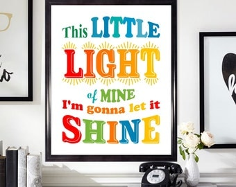 This little light of mine I'm gonna let it Shine Wall Art Nursery Decor Kids Room Decor Christian Wall Art Song Quote Sunday School #AP4