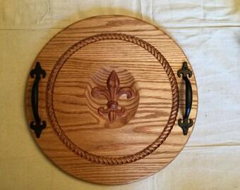 """16"""" oak 3d fleur de lis and rope border carved serving platter."""