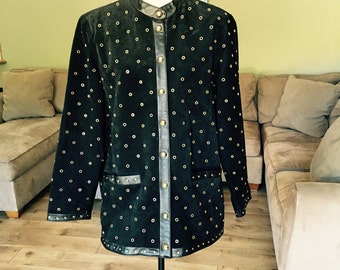Linea by Louis Dell'Olio suede/leather/gold studs jacket