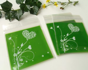 10 transparent green hearts 10cmx10cm gift bags pouches